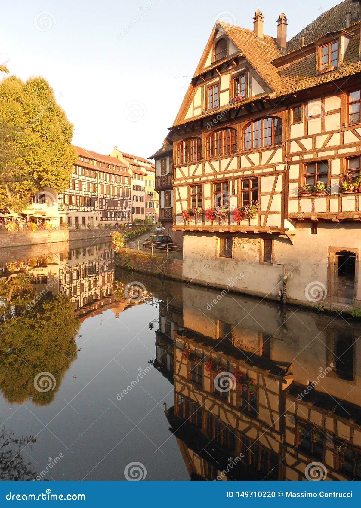 Halftimbered byggnader i Strasbourg, Alsace