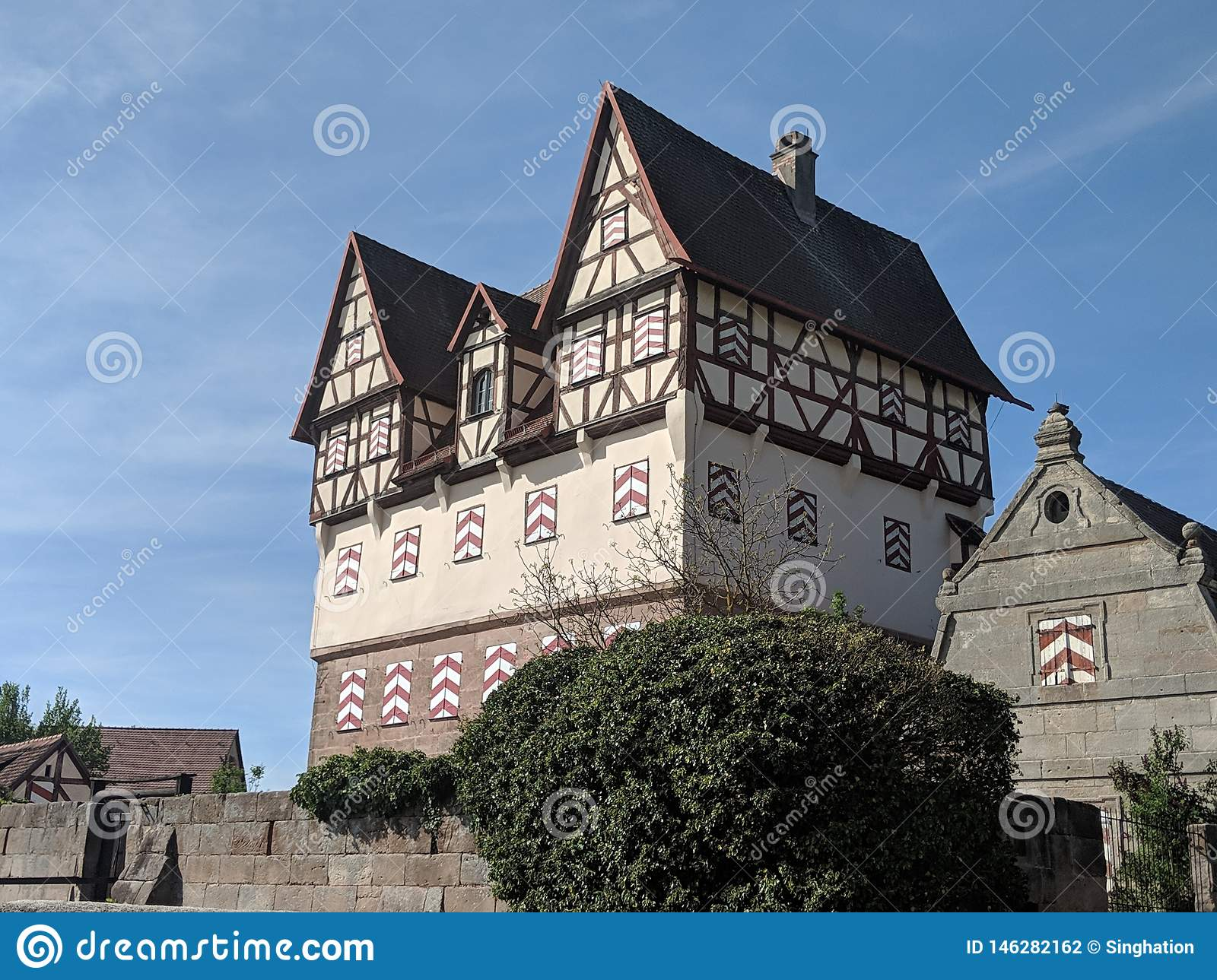 Halftimbered old castle in village