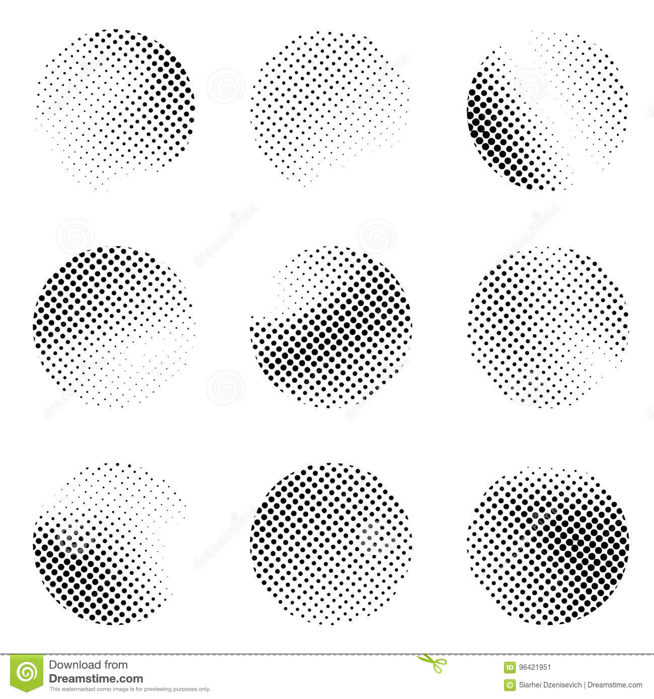 Halftone Black And White Dotted Pattern Circle Templates. Pop Ar ...