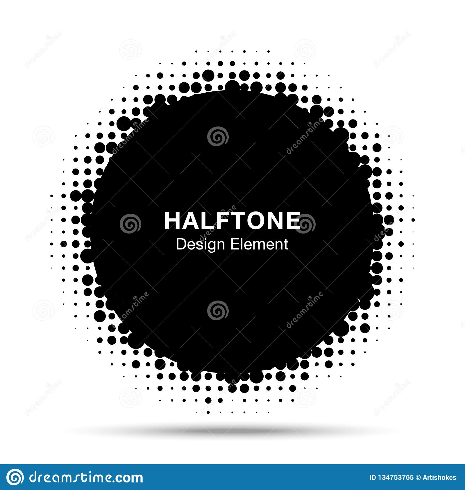 Halftone circle vector frame with black abstract random dots. Round border using halftone circle dots raster texture.