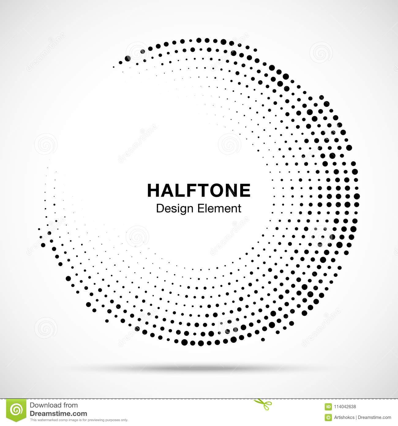 Halftone circle frame with black abstract random dots, logo emblem for technology, medical, treatment, cosmetic. Vector