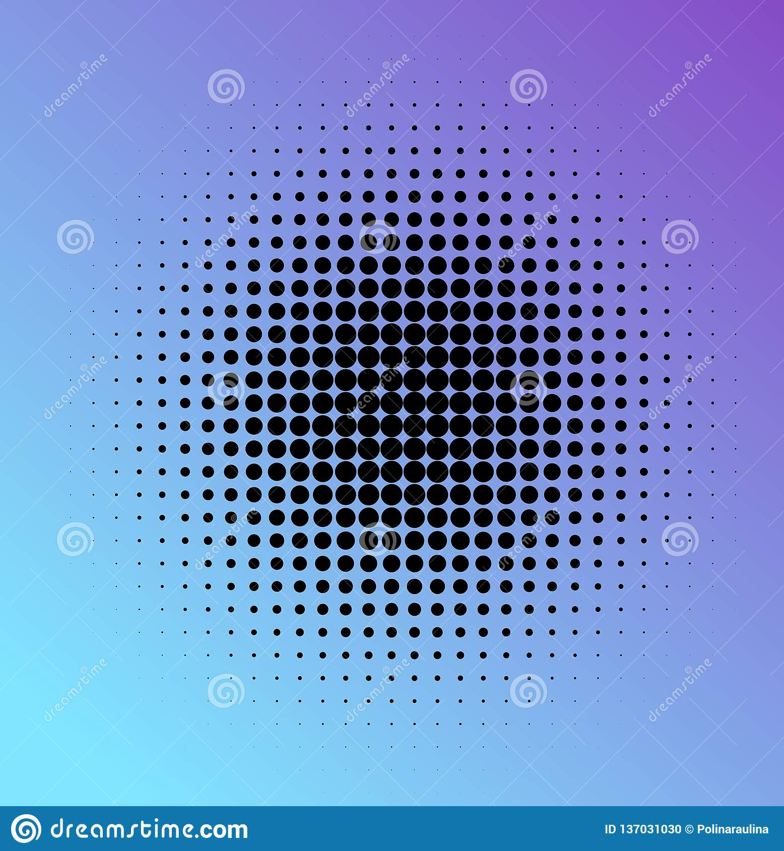 Halftone dots in circle.