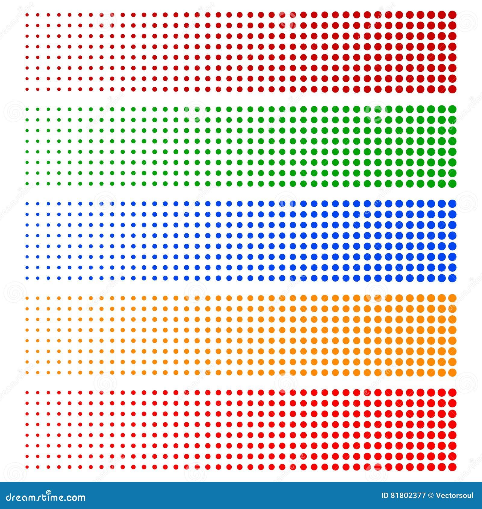 Halftone elementy Blaknąć okręgi w 5 kolorach