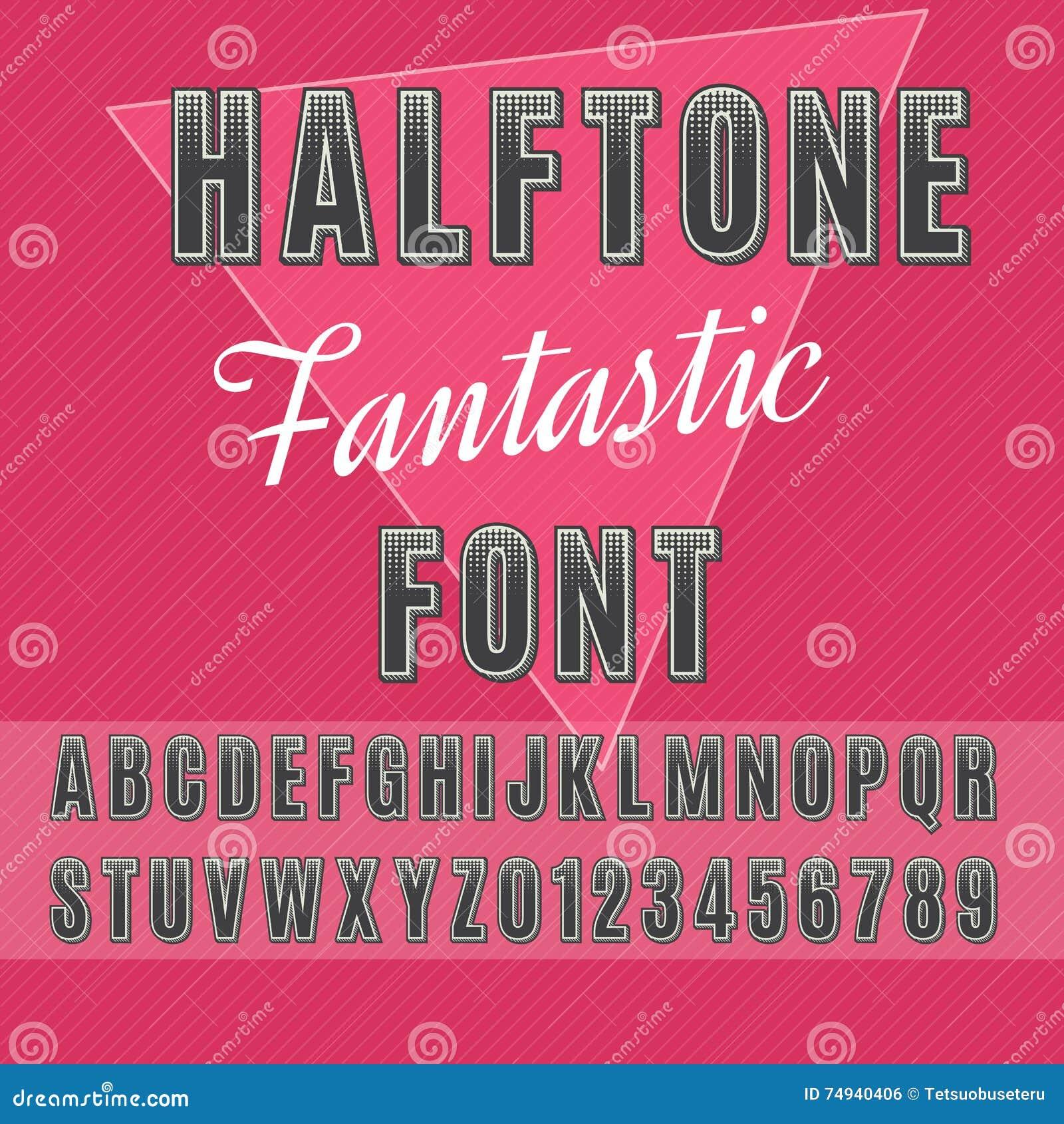 Halftone font stock vector  Illustration of print, letter