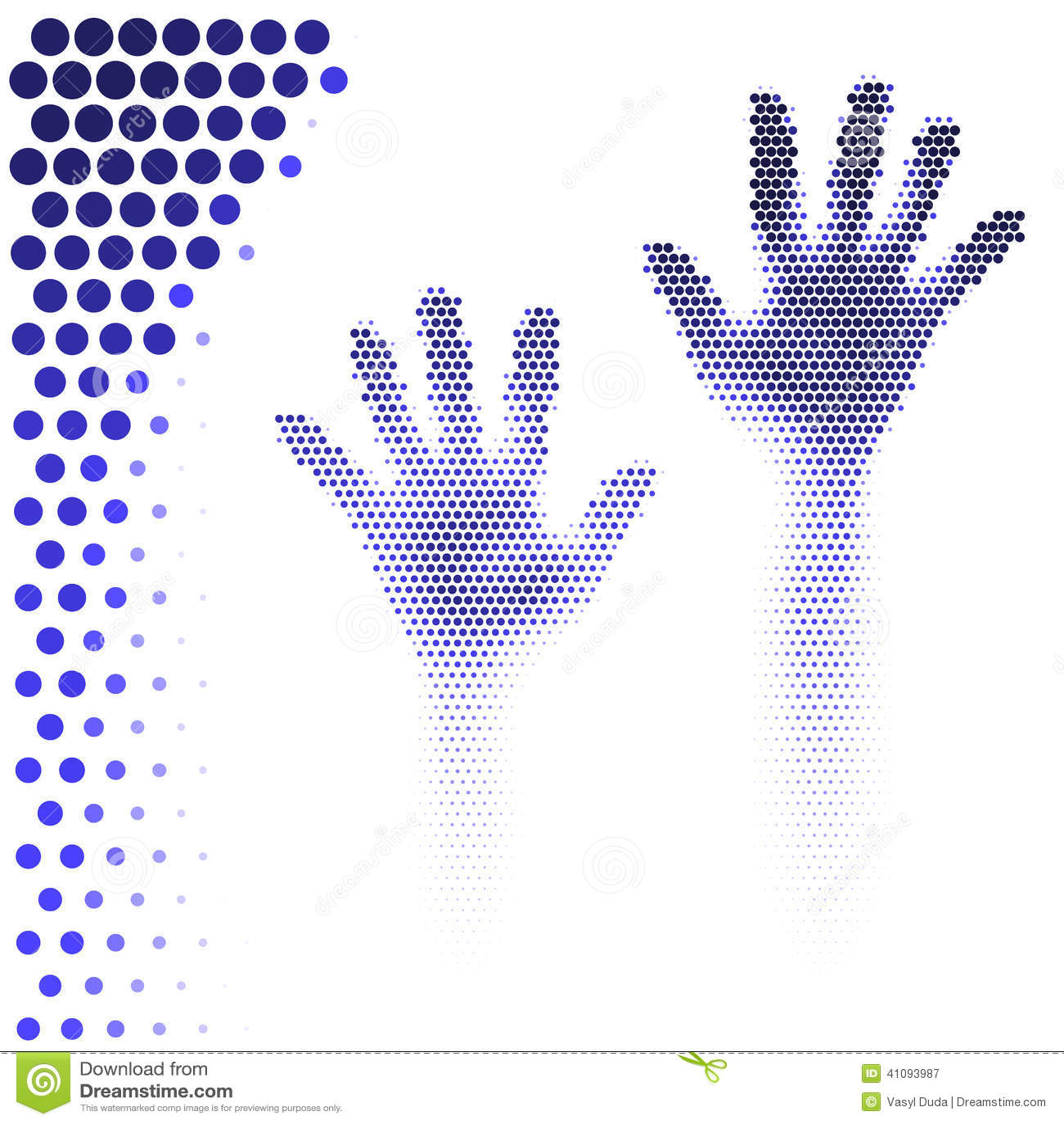Halftone handensilhouet