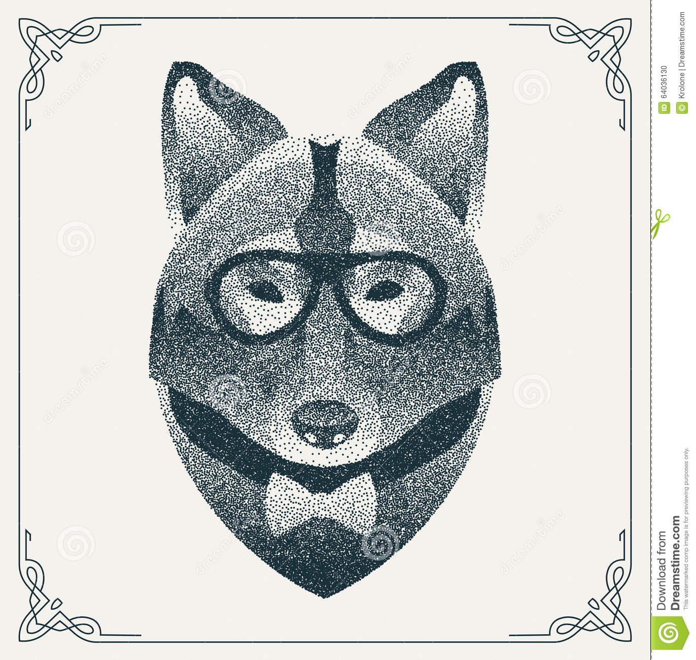 Download Halftone Hipster Wolf With Black Dots. Vector Stock Vector - Illustration of animal, graphic: 64036130