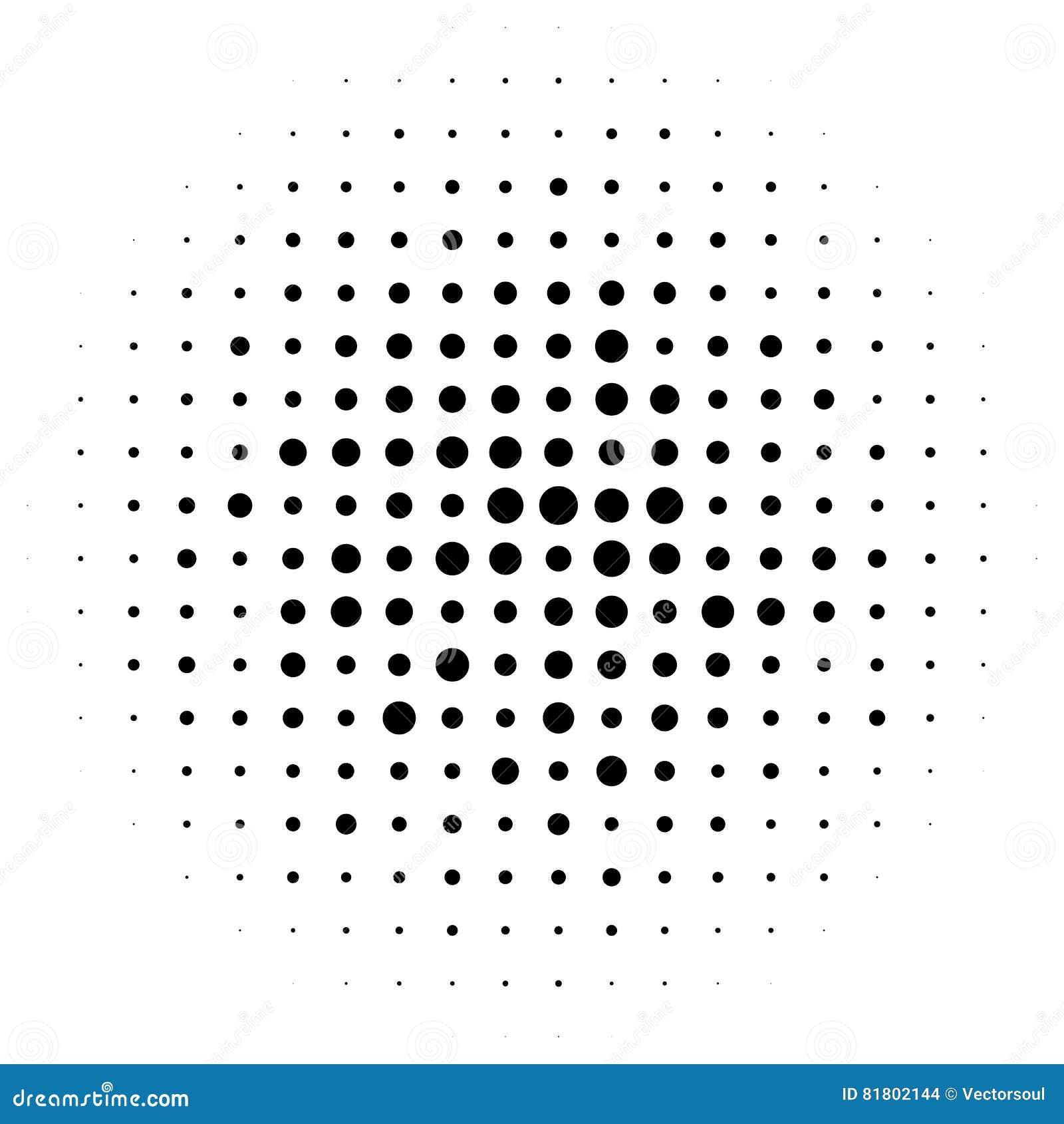 Halftone okręgi, halftone kropek wzór Monochromatyczny brzmienie