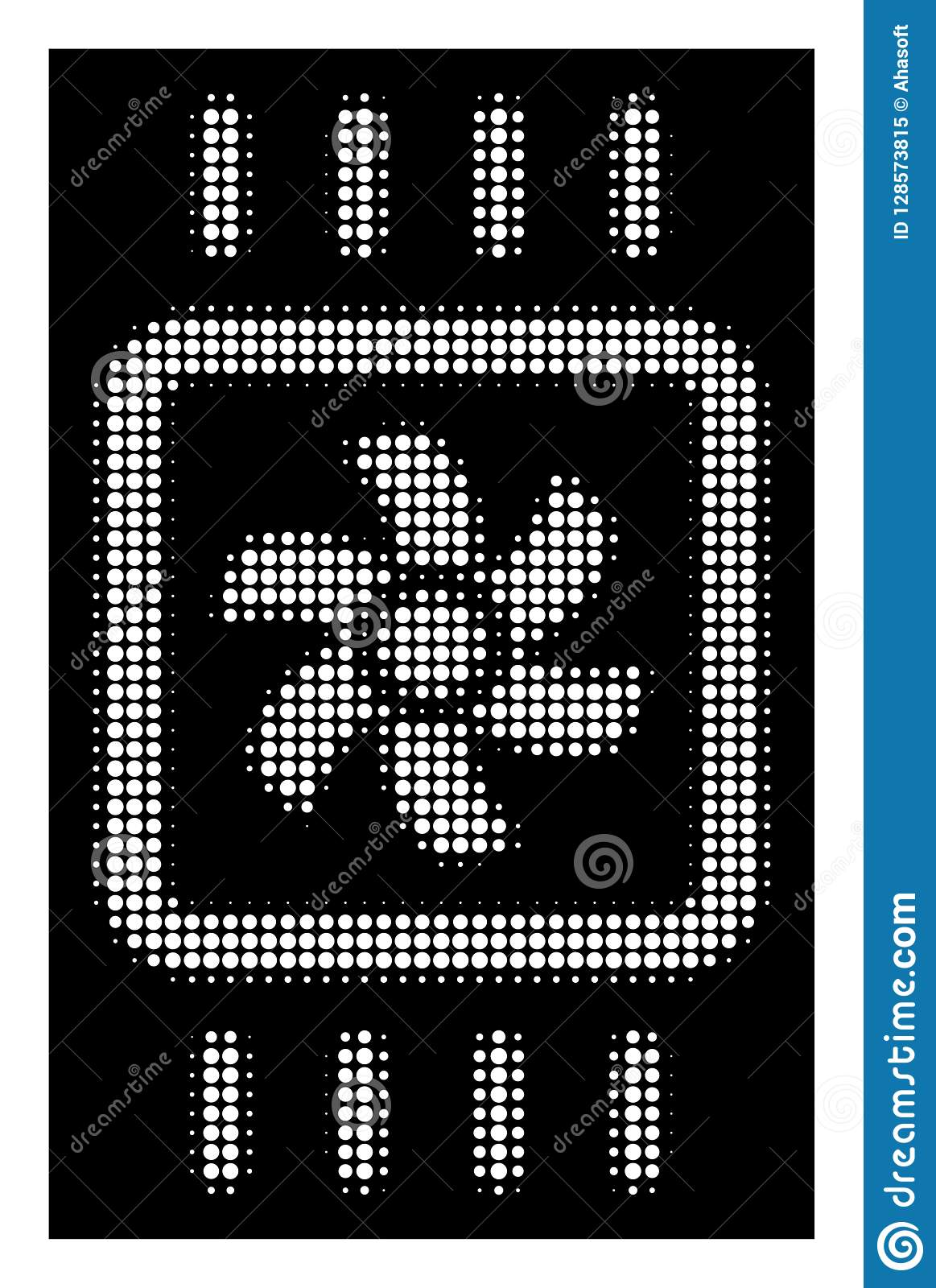 White pictogram with pixelated geometric pattern on a black background vector chip cooling icon constructed of round points