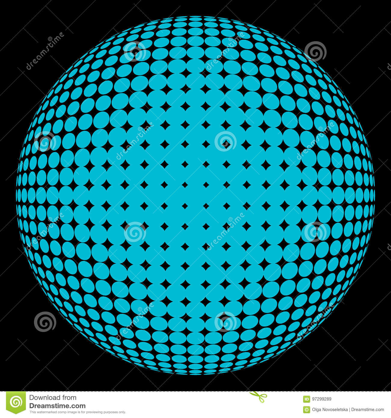 Halftone Sphere Blue On Black Stock Illustration