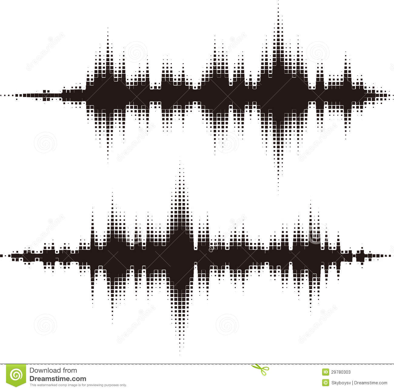 Halftone Square Vector Elements Vector Sound Waves Stock