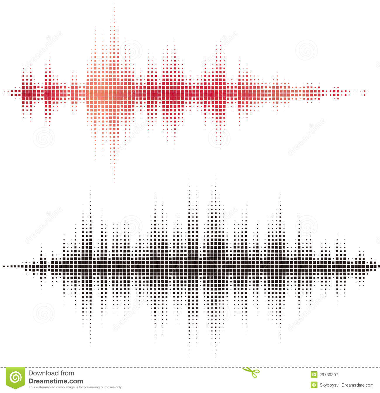 Halftone square vector elements. Vector sound waves