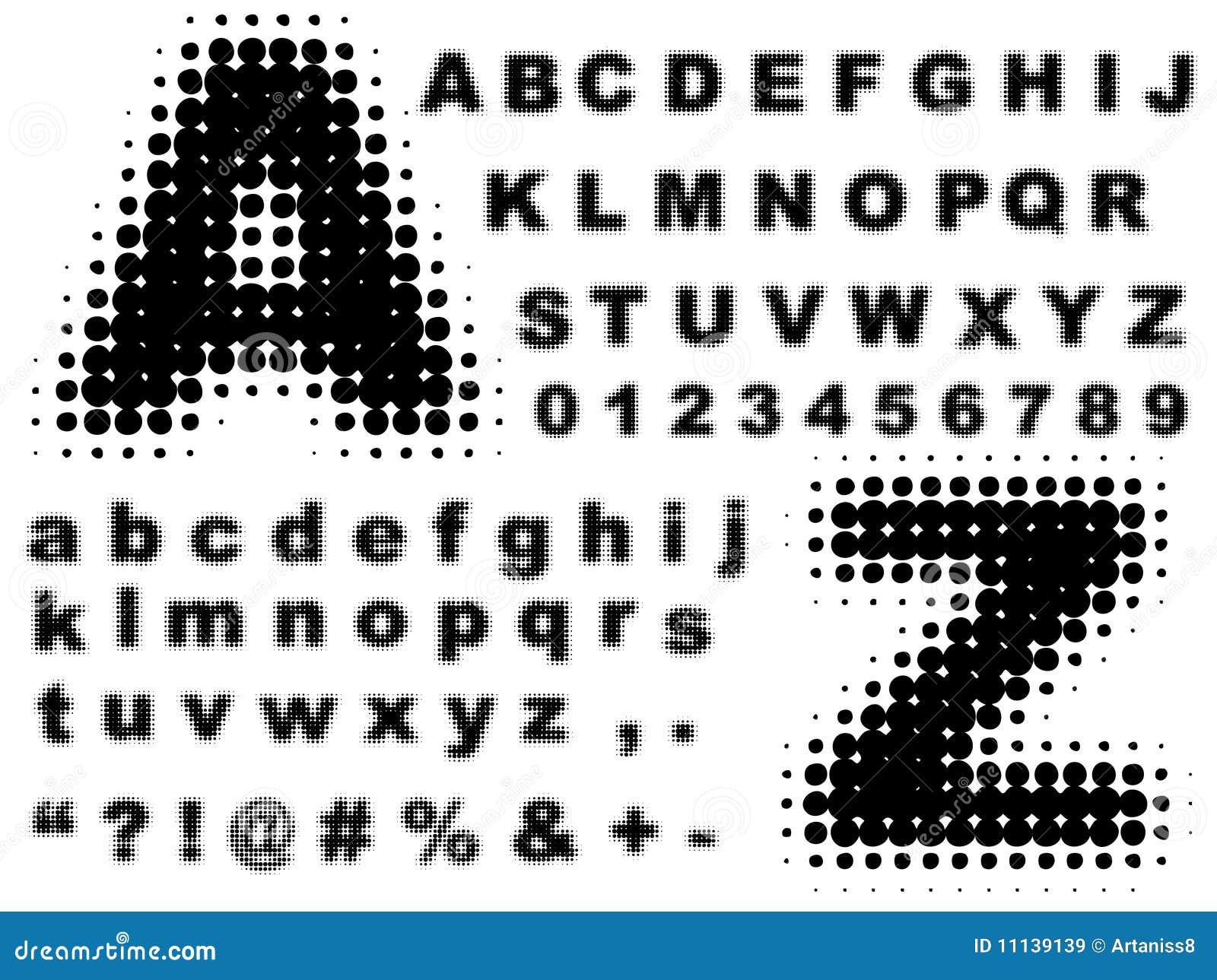 Halftone volledige alfabetvector