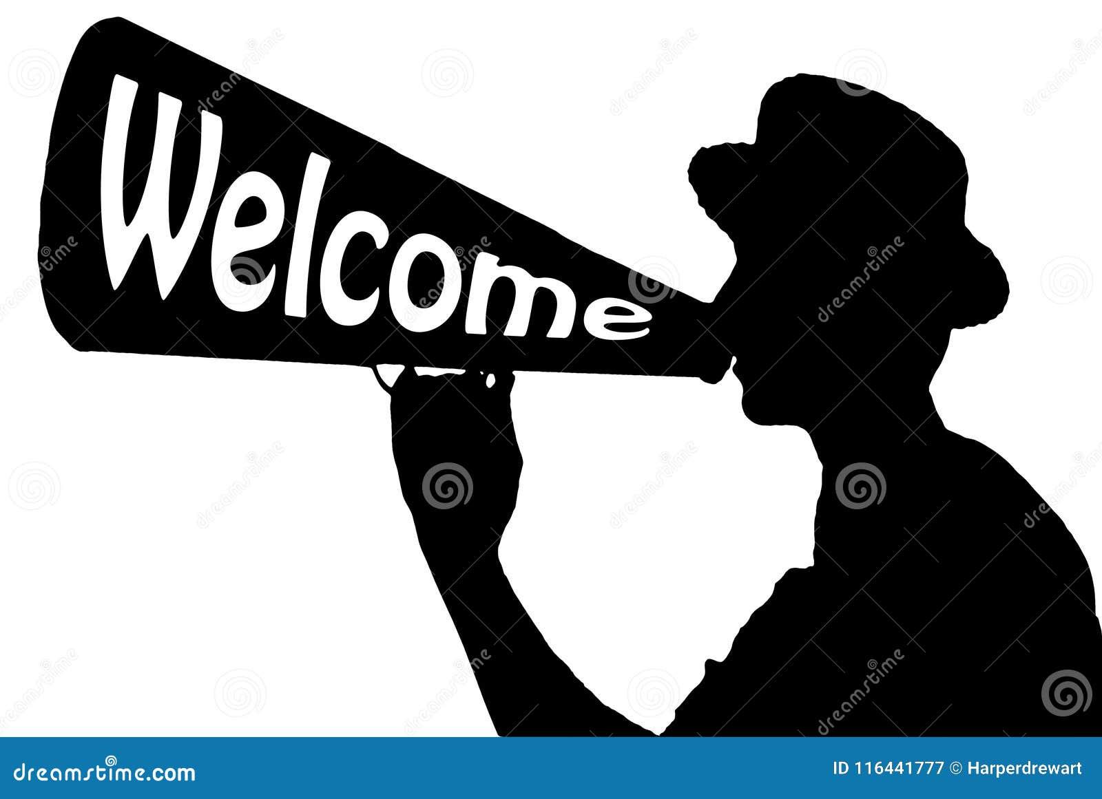 Hallåman för Hello välkomnandeberöm med megafonen