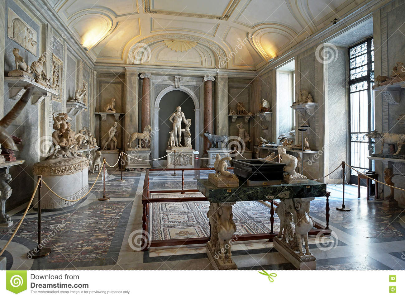 the hall of animals at the vatican museums editorial stock photo