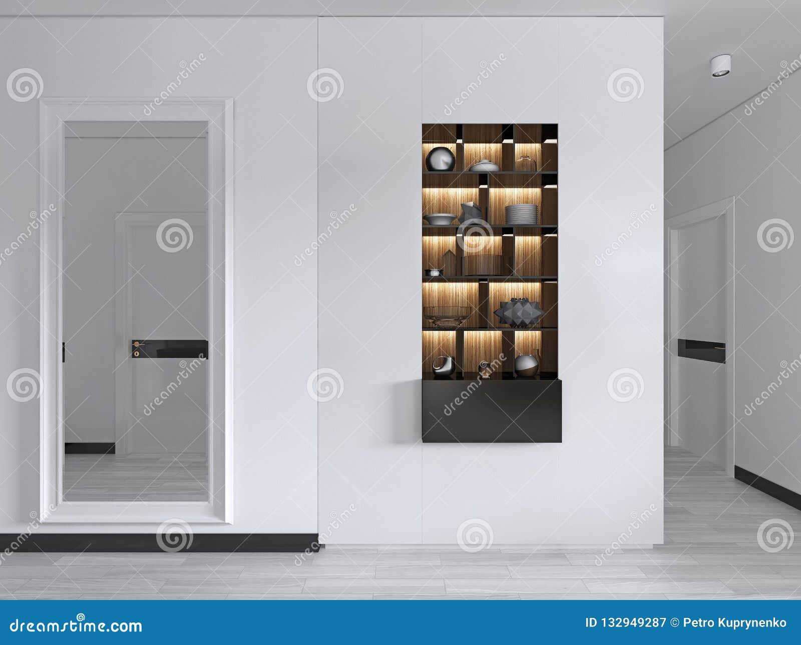 Grand Miroir D Entrée hall d'entrée avec un grand miroir dans un cadre blanc avec