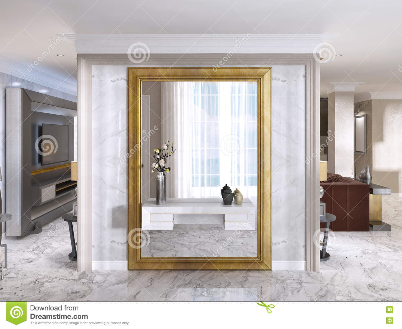 hall d 39 entr e luxueux d 39 art d co avec un grand miroir de concepteur illustration stock. Black Bedroom Furniture Sets. Home Design Ideas