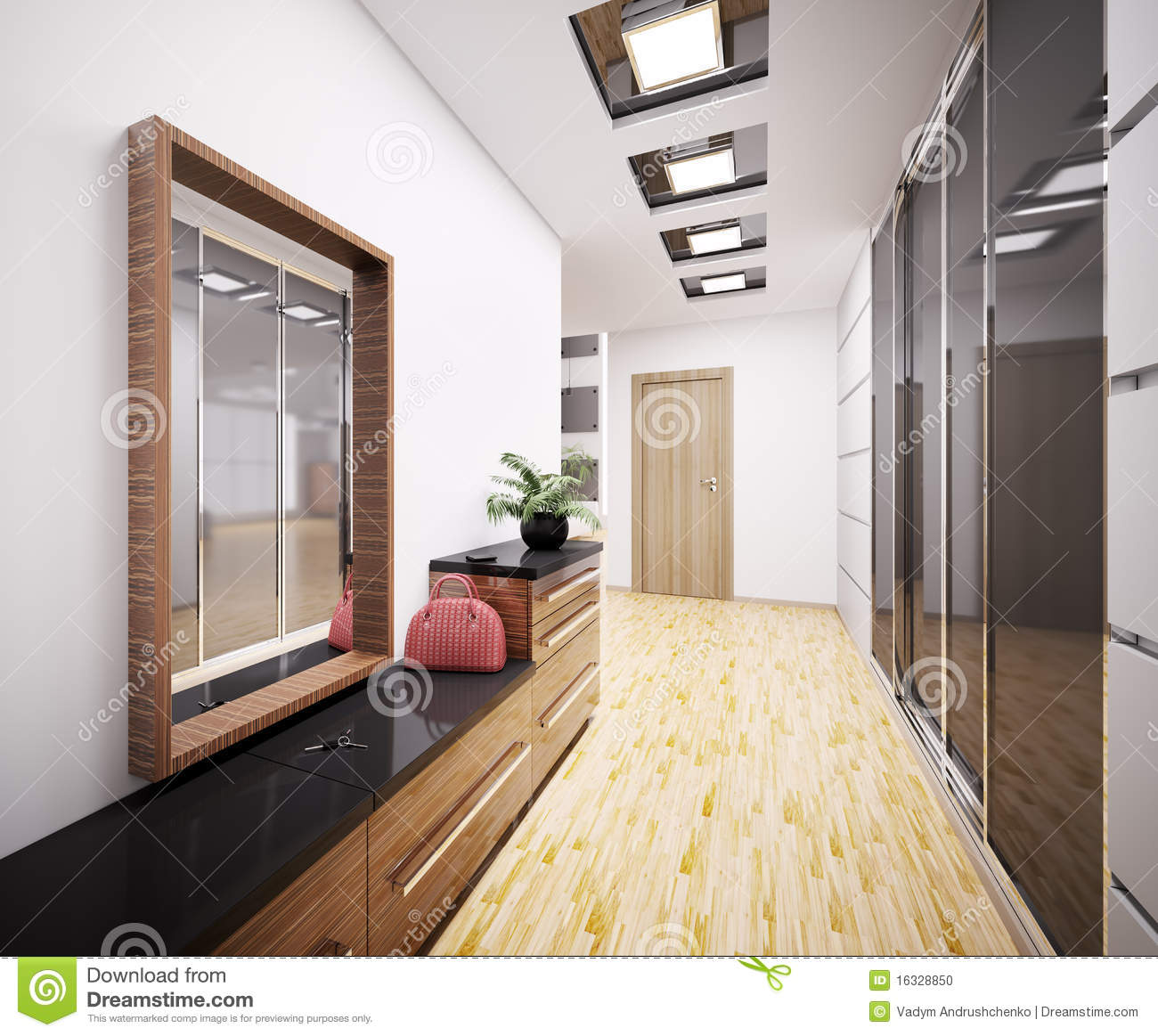 Hall d 39 entr e moderne 3d int rieur photo stock image for Entree interieur maison moderne