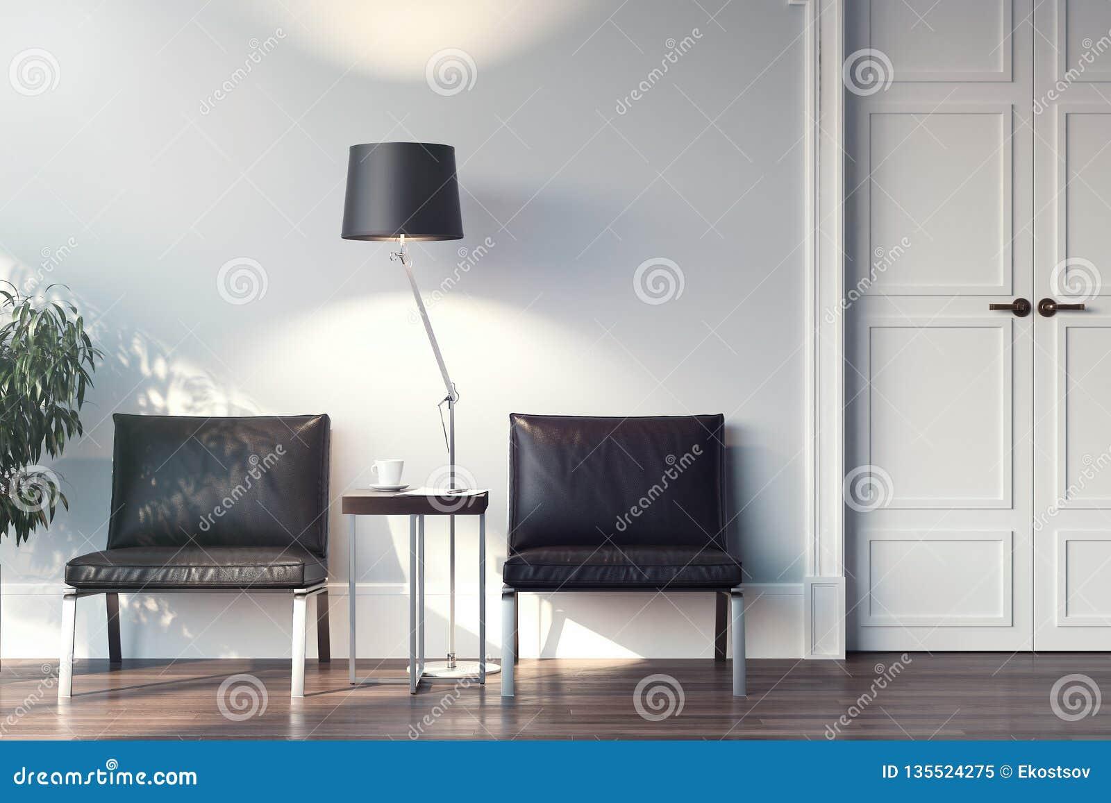 Chaises Salle D Attente Cabinet Medical hall de attente intérieur avec les chaises, la lampe et la