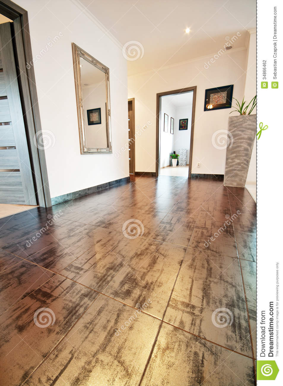 Hall With Decorative Floor Tiles Stock Photo Image 34866462