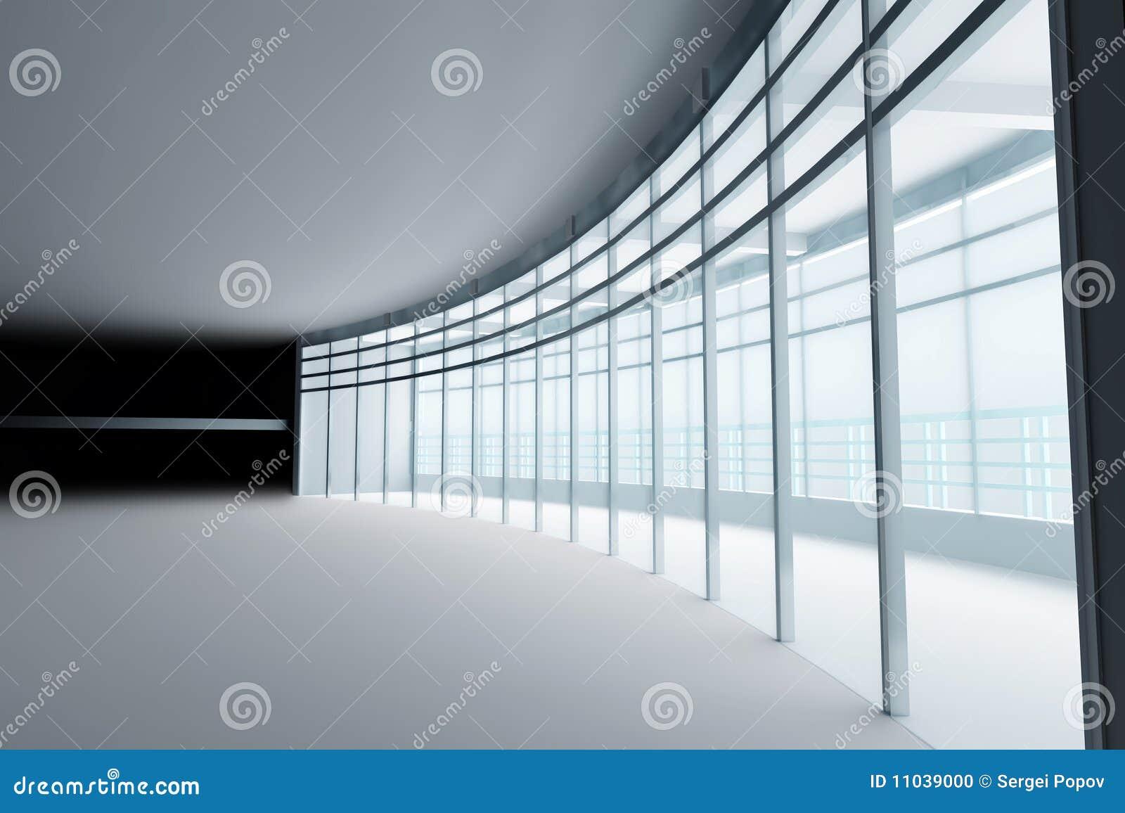 Hall with glass windows