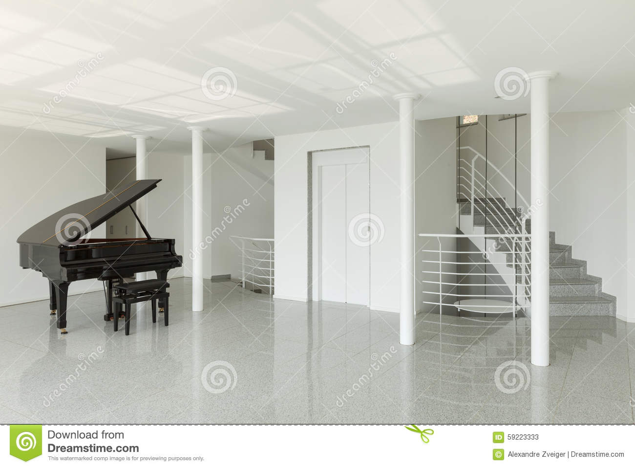 Hall With Grand Piano Stock Photo - Image: 59223333