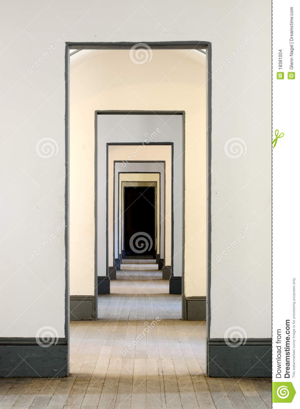 Royalty-Free Stock Photo & Hall of many doors stock photo. Image of gray inside - 18381004