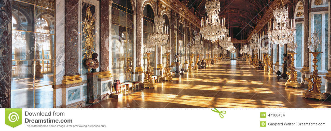 Hall Of Mirrors Of Versailles Palace France Stock Photo