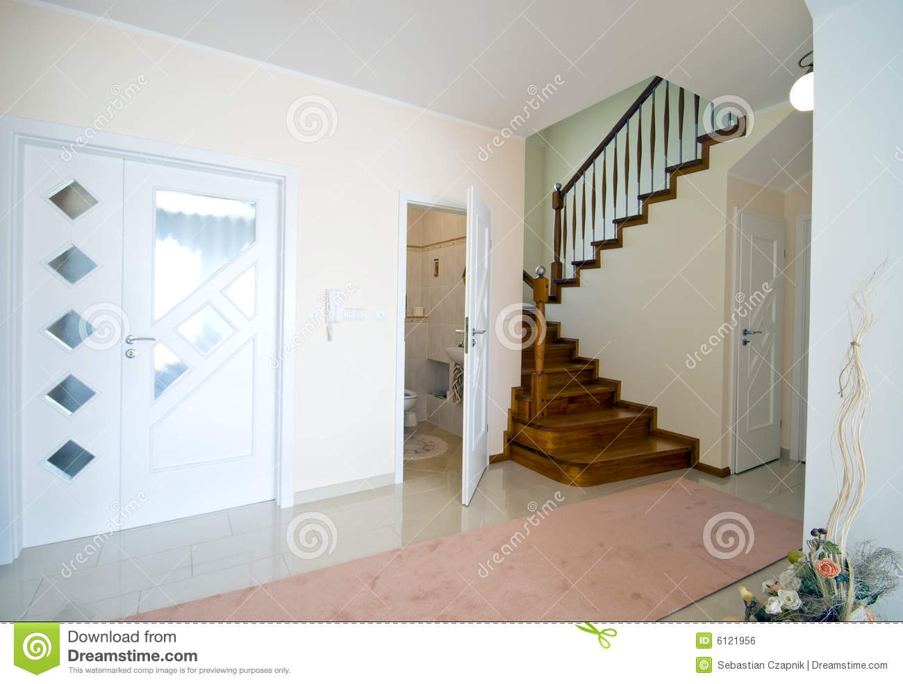 hall of modern home stock photo image of interior stairs. Black Bedroom Furniture Sets. Home Design Ideas