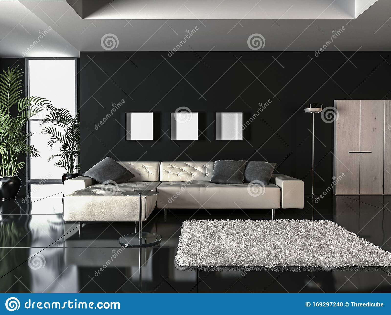 Showcase Interior Design In Minimalist Style 3d Render Stock Illustration Illustration Of Draft Accent 169297240