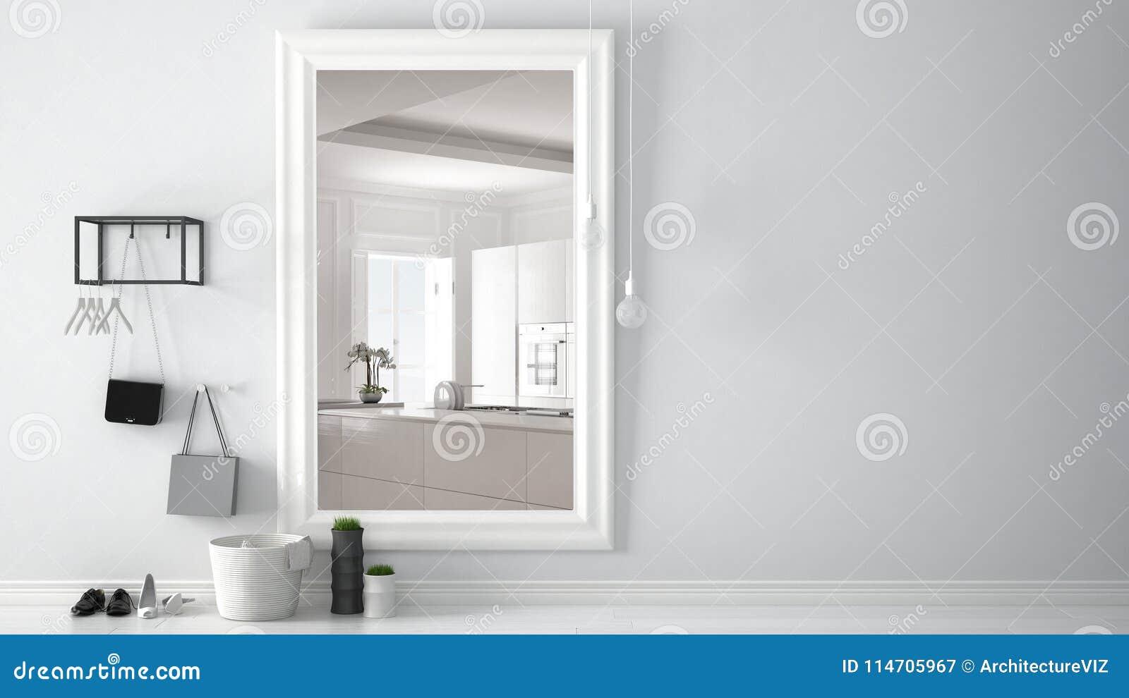 Cuisine Lumineuse Sans Fenetre hall scandinave de lobby d'entrée avec le miroir reflétant