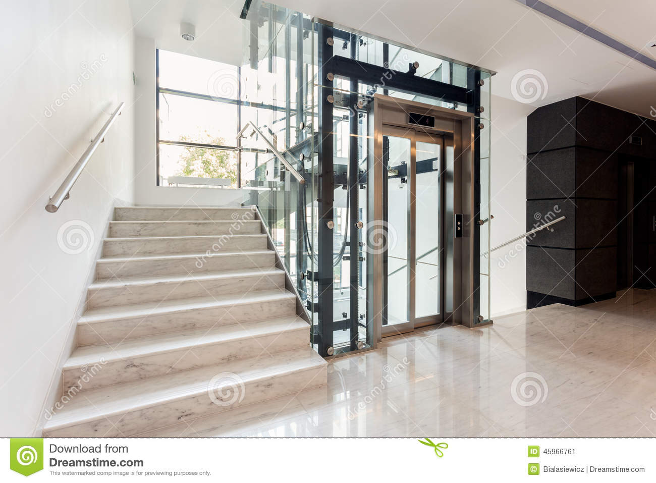 Download Hall With Staircase And Elevator Stock Image   Image Of Area,  Corporation: 45966761