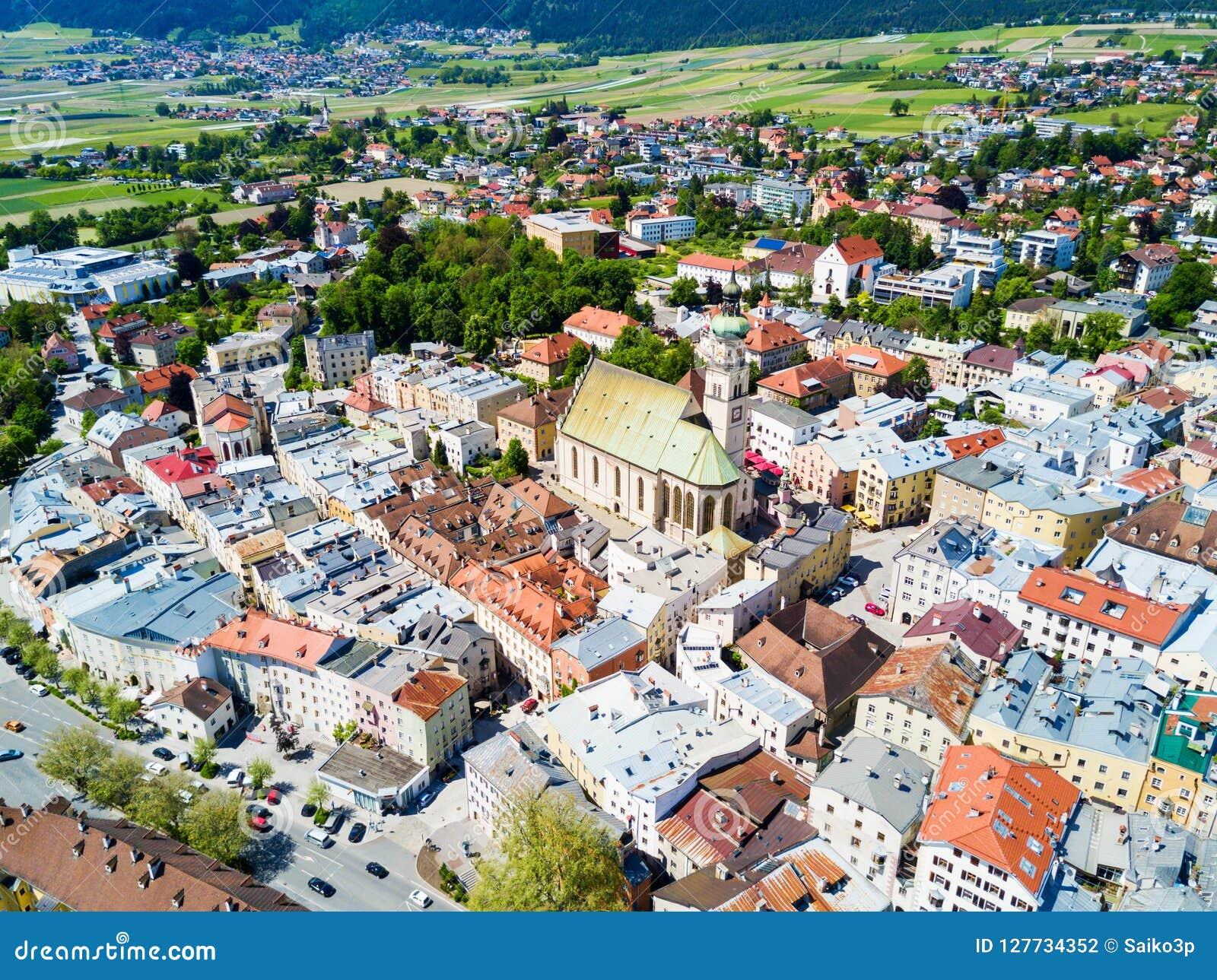 Hall Tirol widok z lotu ptaka