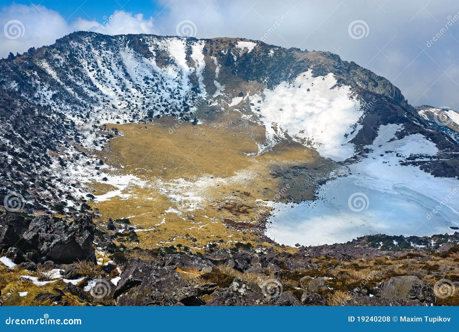Hallasan mountain volcanic crater