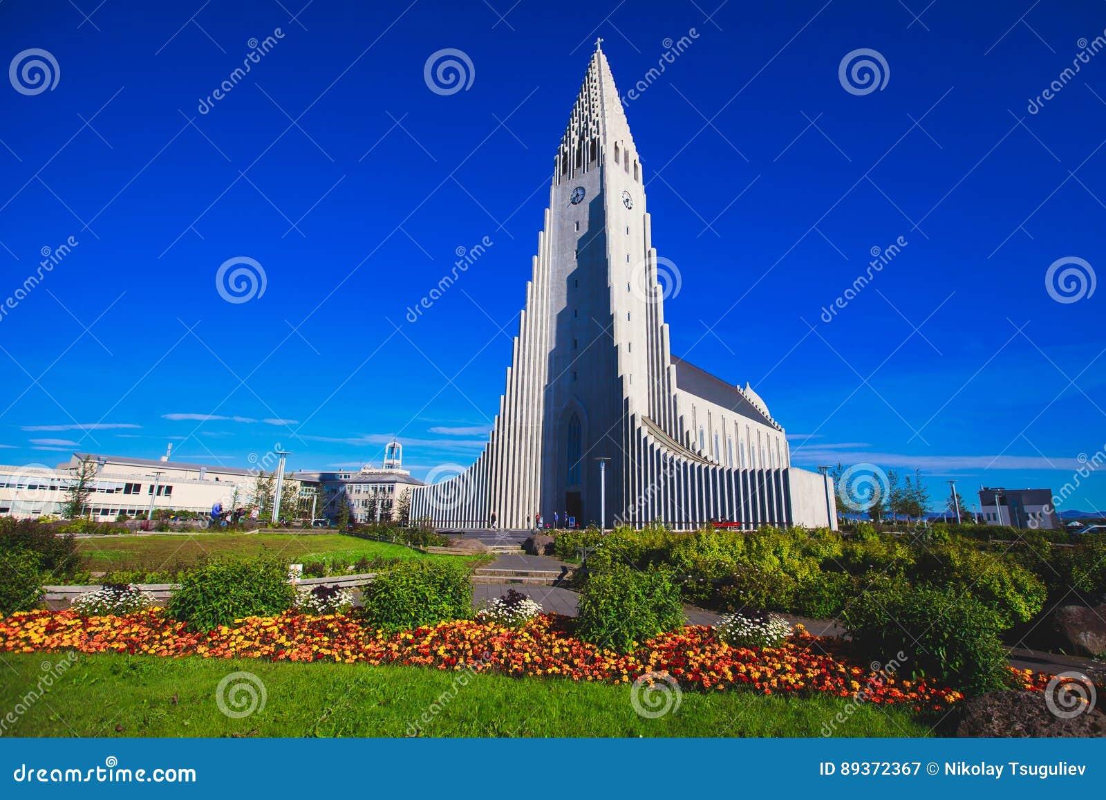 Hallgrimskirkja Cathedral in Reykjavik, Iceland, lutheran parish church, exterior in a sunny summer