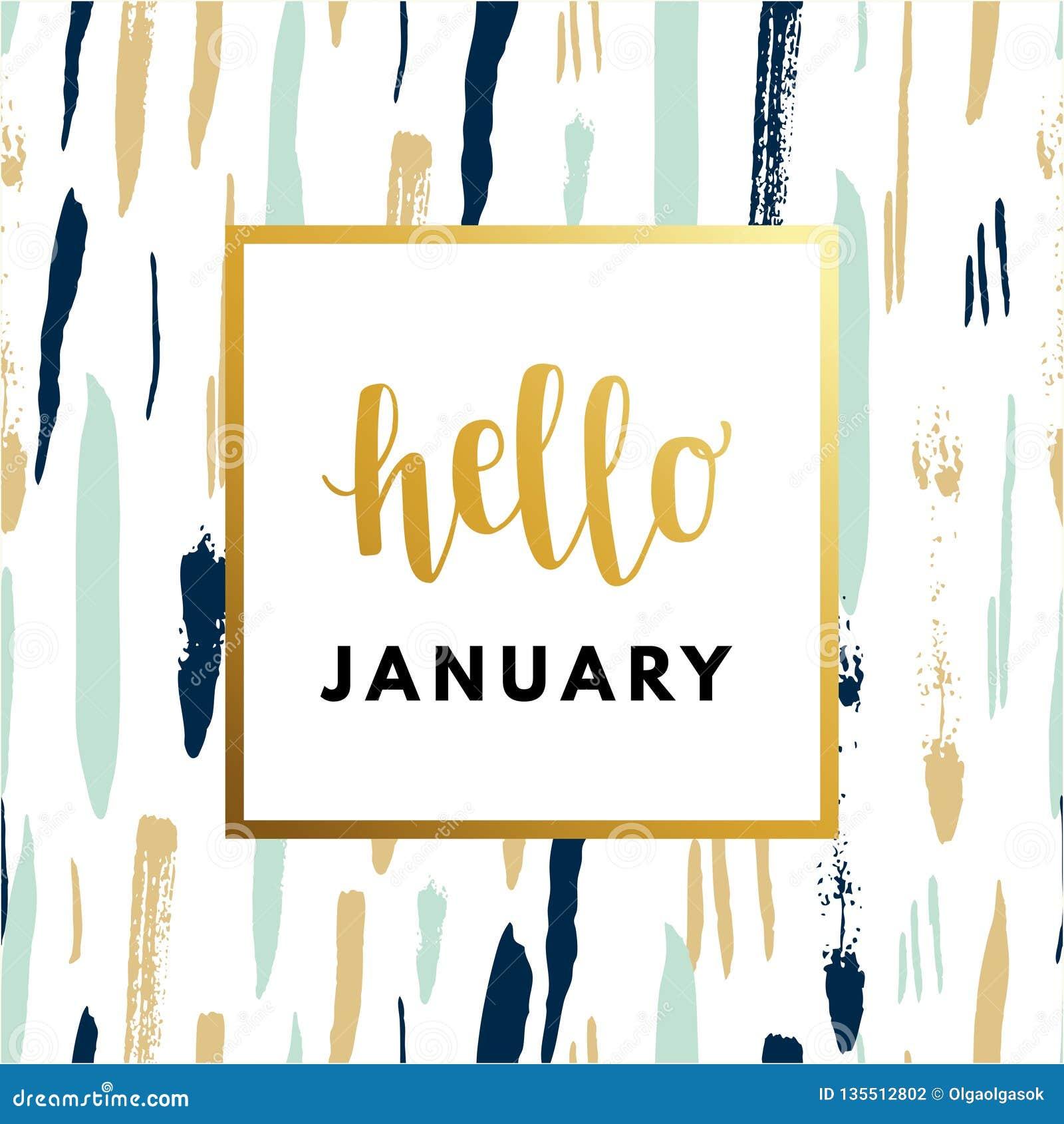 Hallo hauen Januar das Jahr kreativ, minimale Wintergrußkarte
