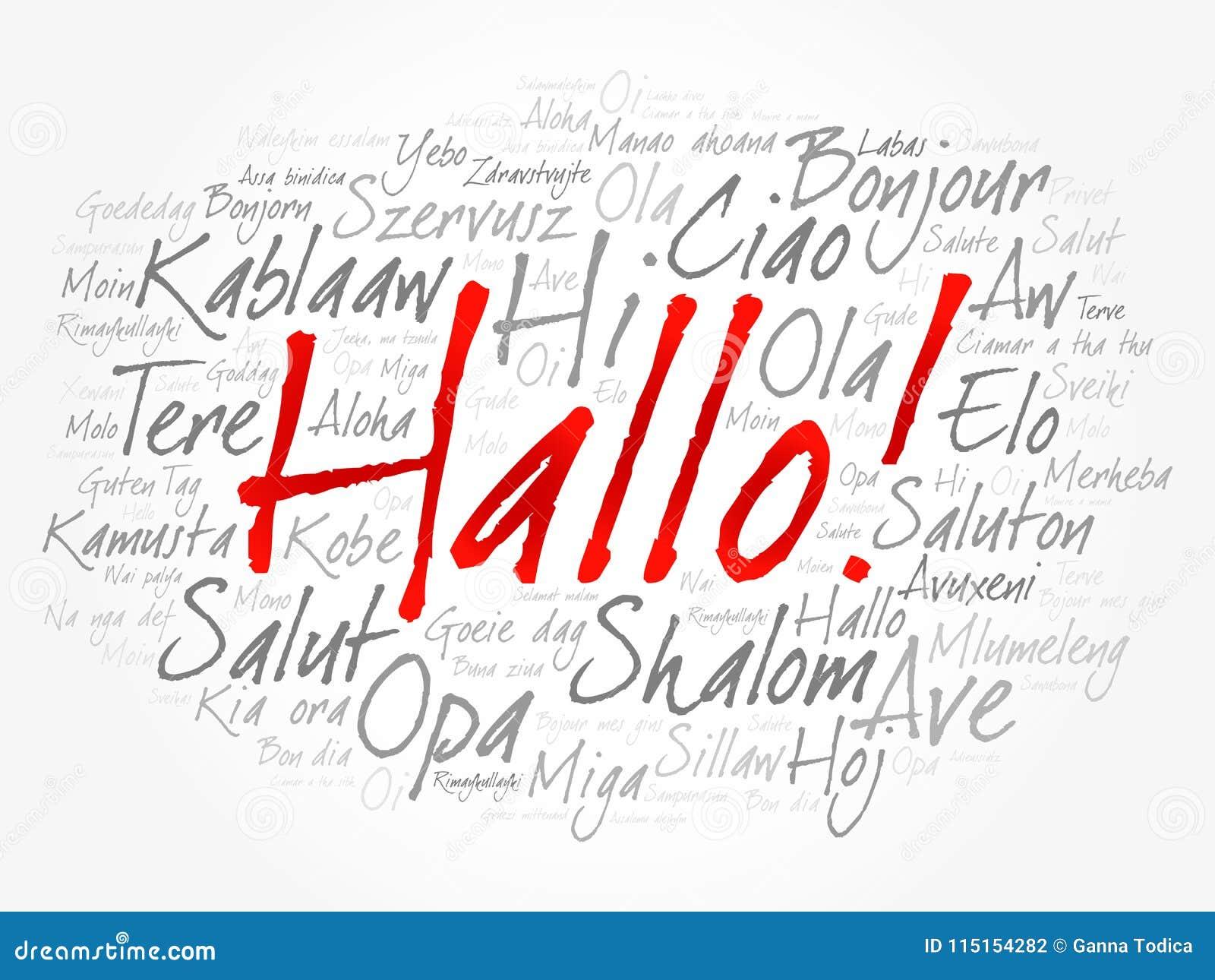 Hallo Hello Greeting In German Word Cloud Stock Illustration