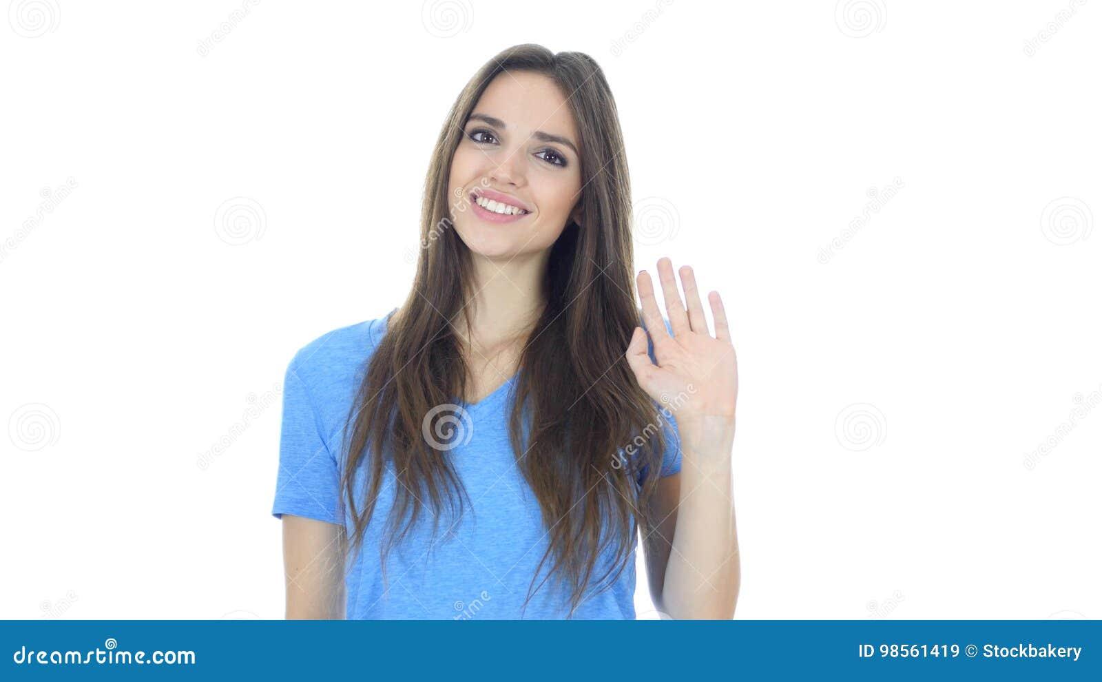 Hallo, Hello, Vrouwen Golvende Hand, Onthaal, Portret op Witte Achtergrond