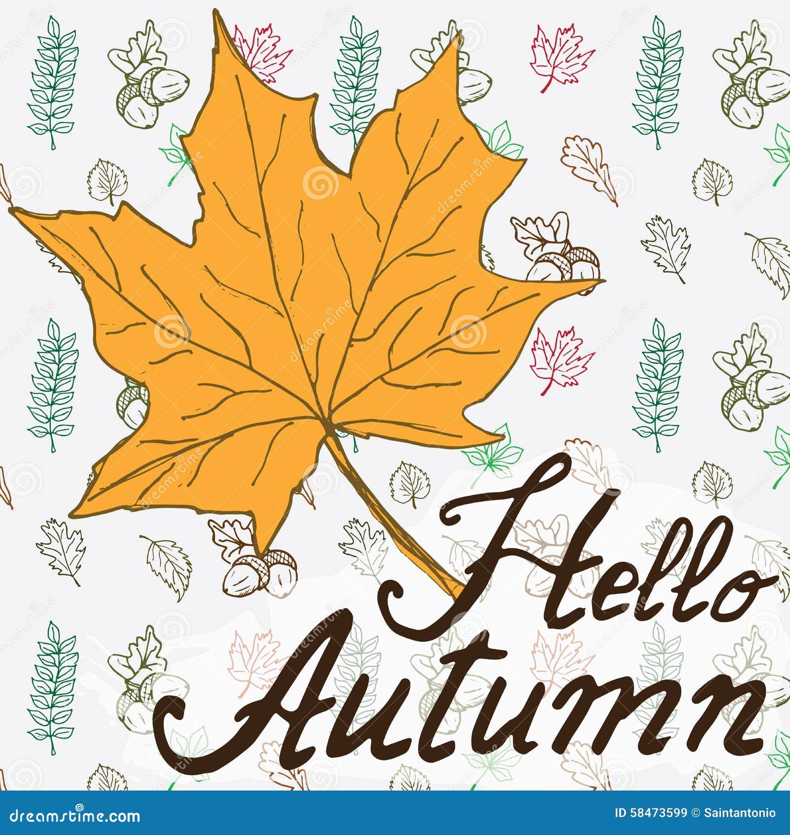 Hallo Herbst Gezeichneter Hintergrund Des Herbstsaison Vektors Hand