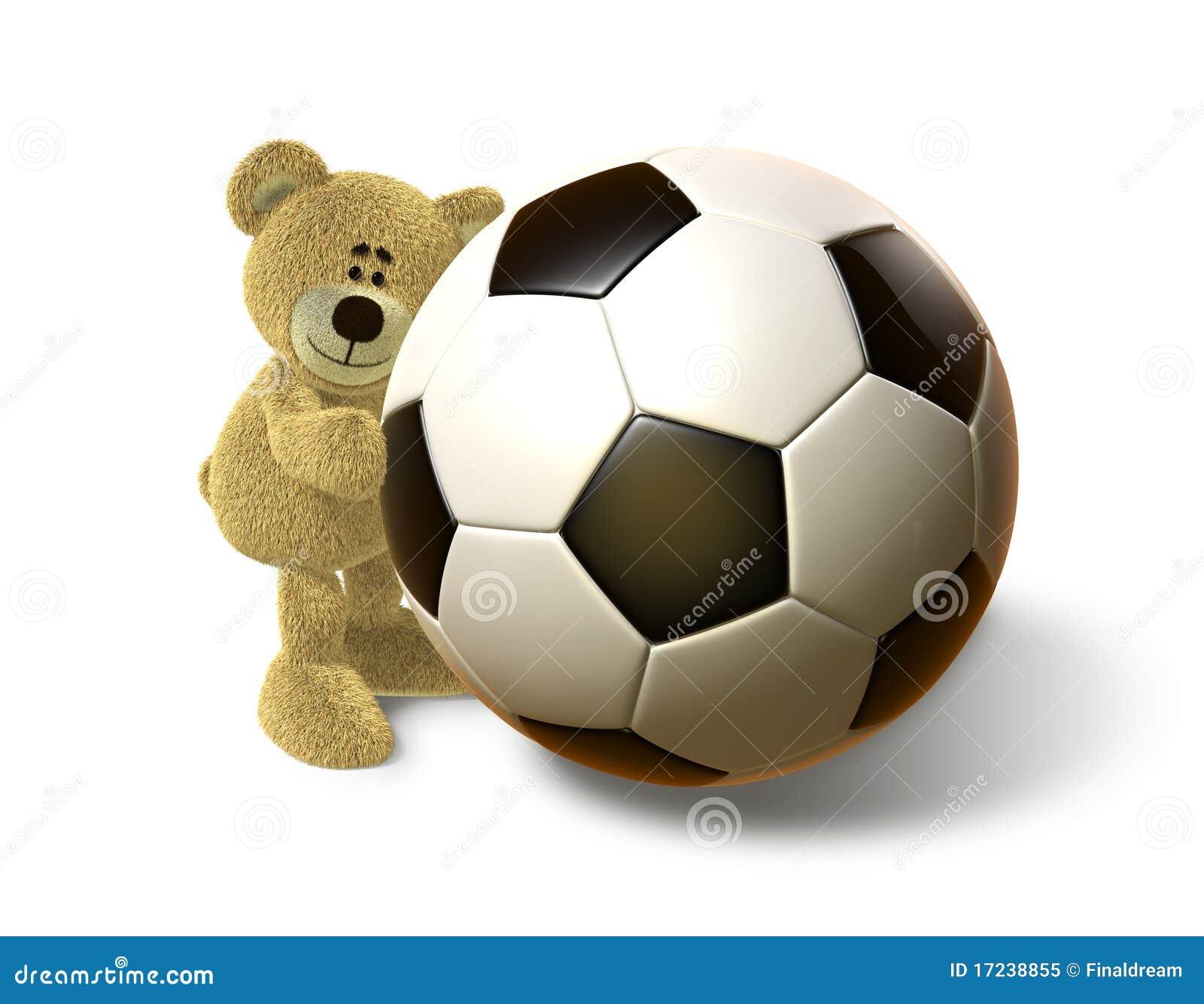 Hallo koestert de beer een grote bal van het voetbal voorzijde royalty vrije stock foto beeld - Sterke witte werpen en de bal ...