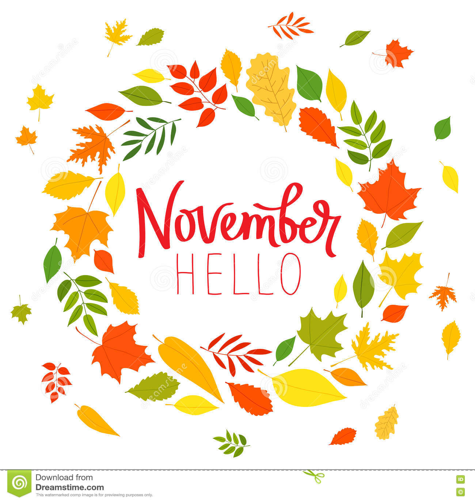 Hallo November Die Tendenzkalligraphie Vektor Abbildung ...