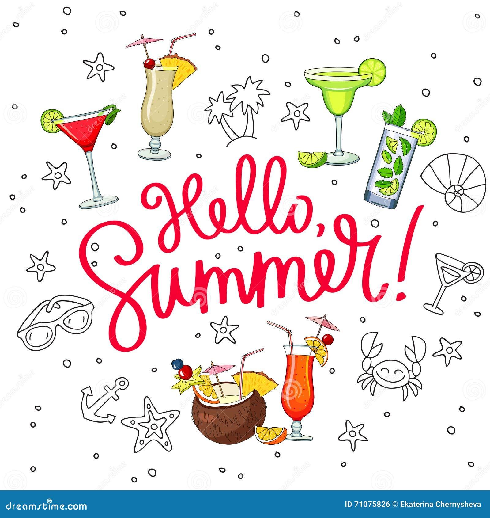 Hallo Sommer Umgeben Von Den Unterschiedlichen Cocktails Und Von Der ...