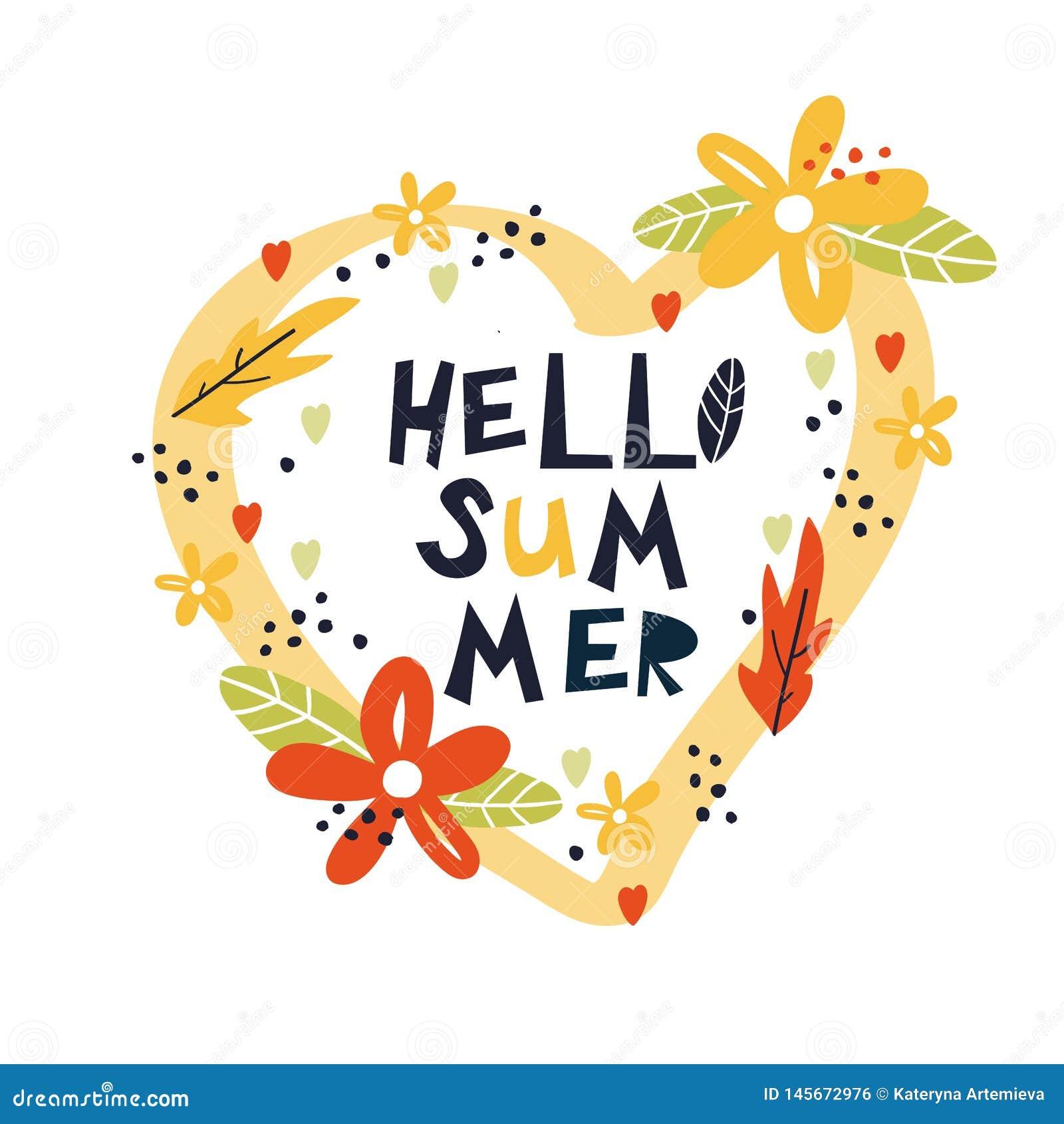 Hallo Sommerhandgezogener Druck