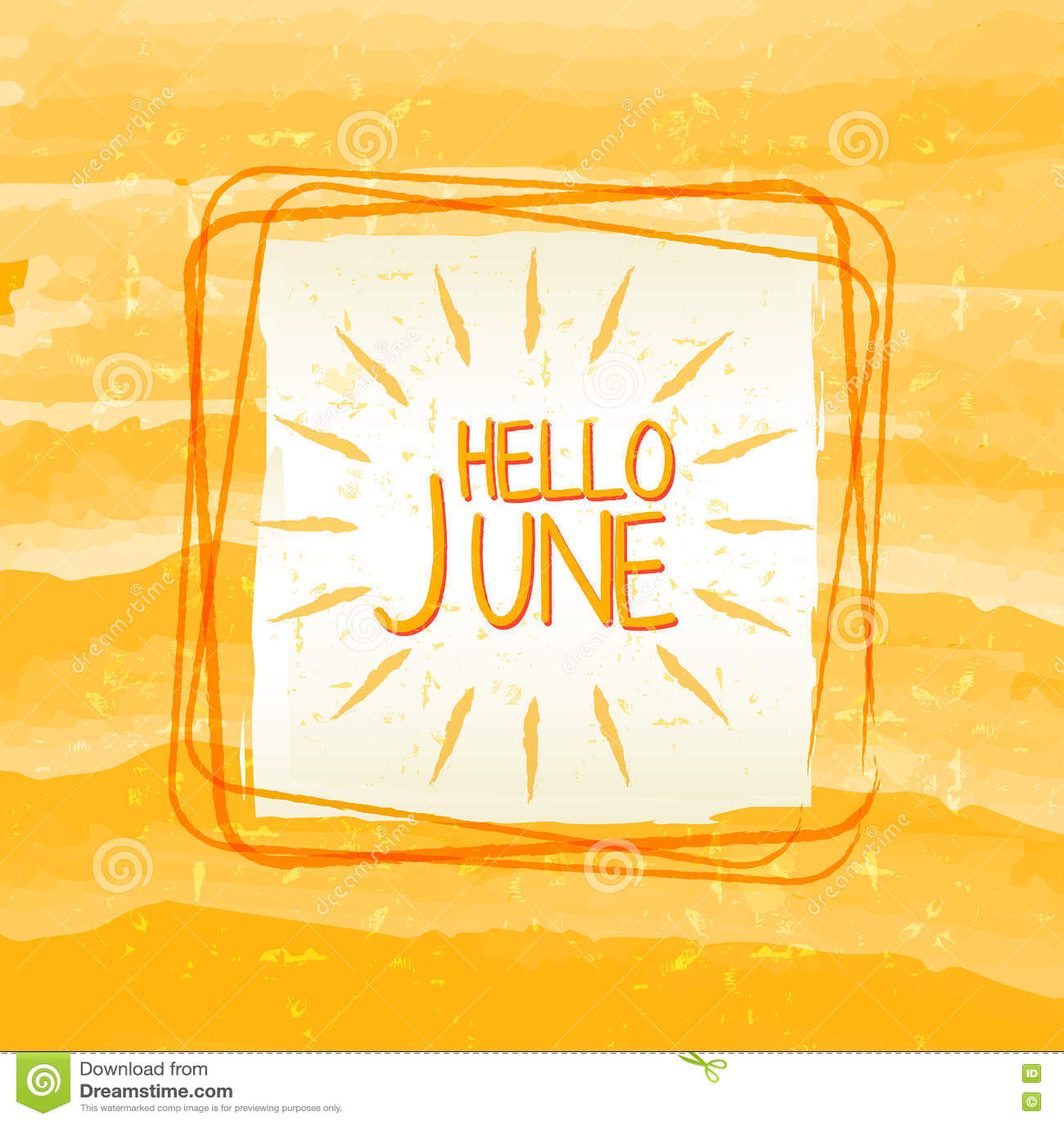 Hallo Unterzeichnen Juni Mit Sonne Herein Quadratischen Rahmen ...