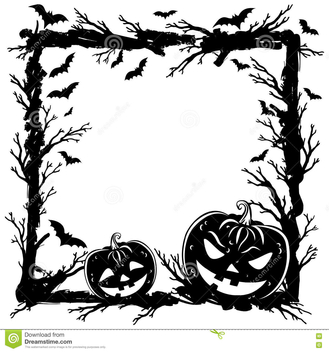Halloween Abstract Background With Pumpkins, Tree Branches Stock ...