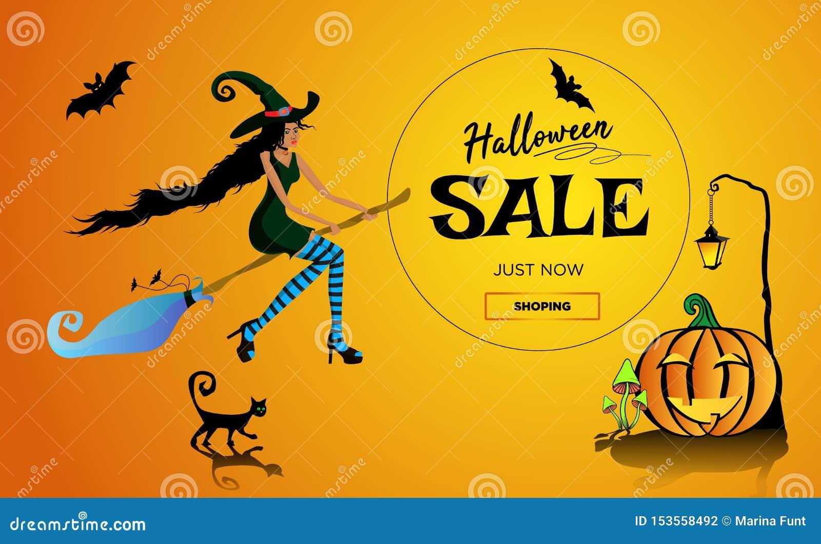 Halloween-Aleförderungsplakat, Fahne mit einer schönen schwarzen Hexe auf einem Besenstiel, eine schwarze Katze und ein Spaßkürbi