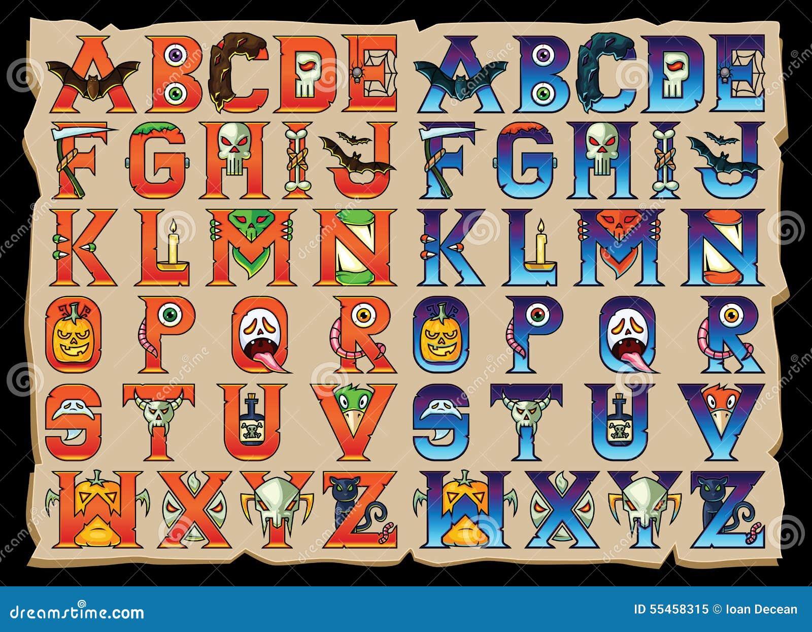 Halloween Alphabet Letters Set Stock Vector - Illustration of symbol ...