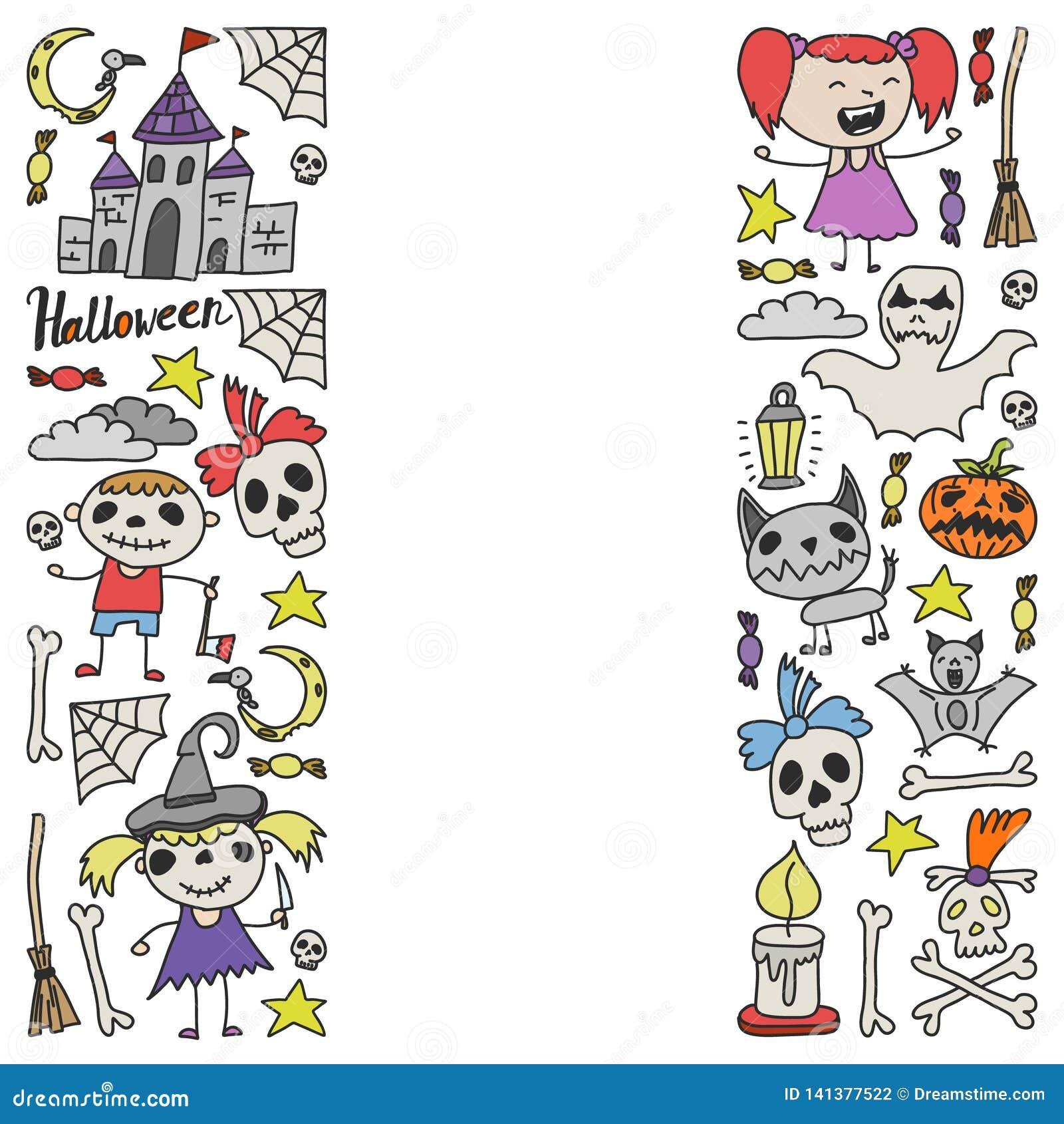 Halloween als thema gehade krabbelreeks Traditionele en populaire symbolen - gesneden pompoen, partijkostuums, heksen, spoken, mo