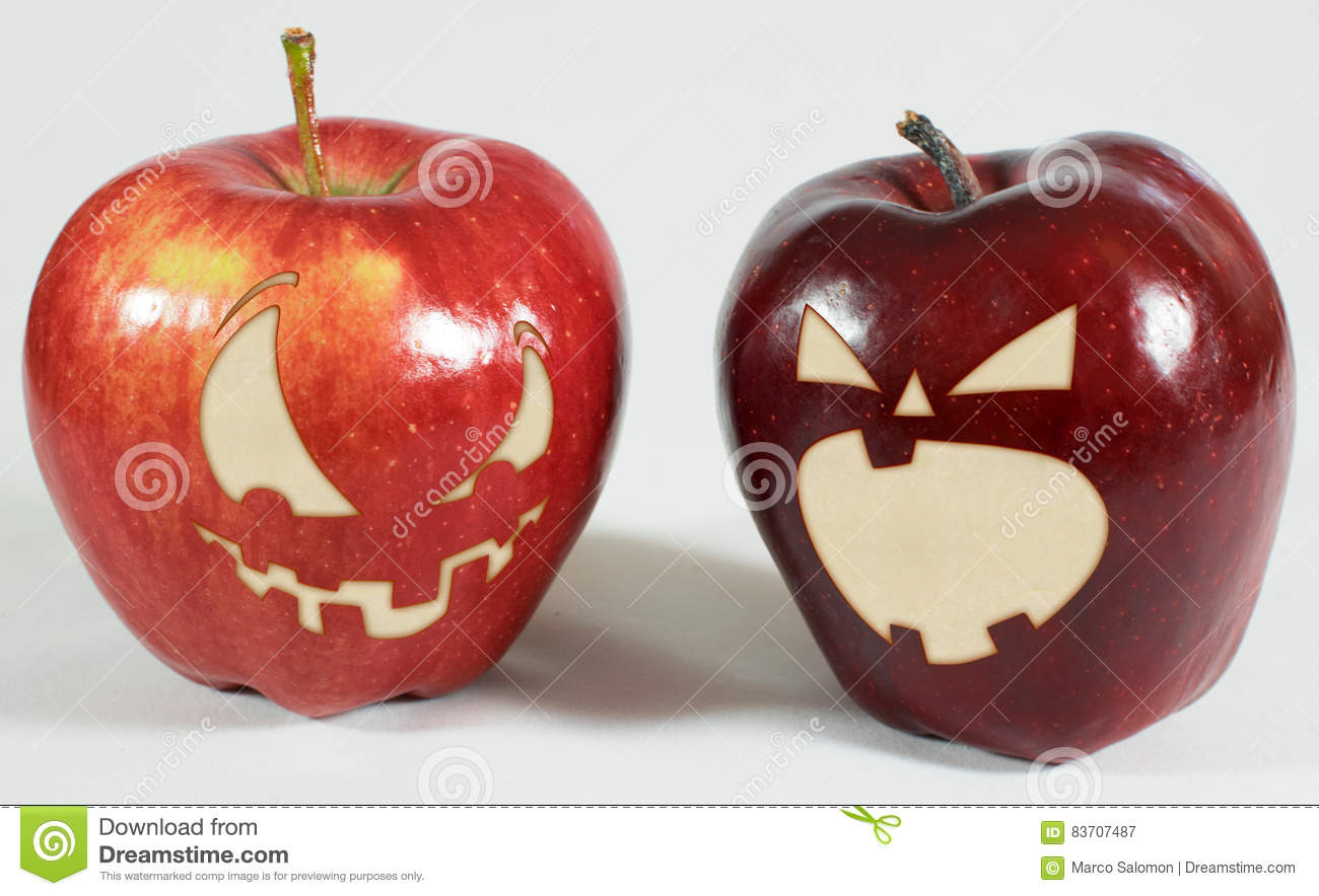 Halloween - Apples With Faces Stock Photo