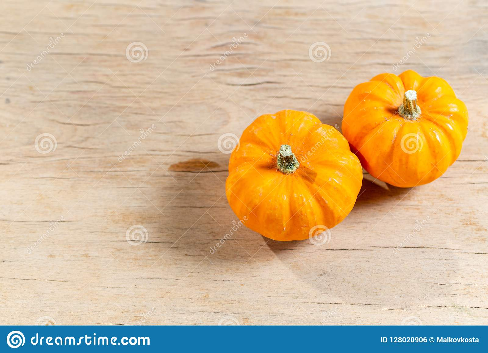 halloween autumn orange small pumpkins on wooden table copy space