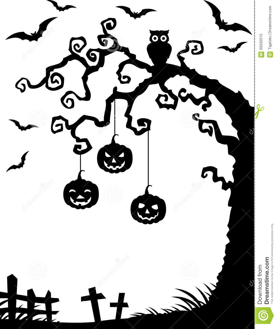 Stock Illustration Halloween Background Dead Tree Silhouette Owl Pumpkin Illustration Image60532515 on scary cemetery clip art